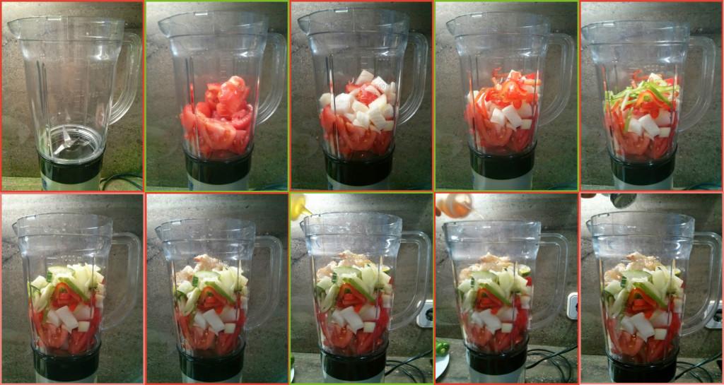 Añadimos los ingredientes paso a paso y aliñamos