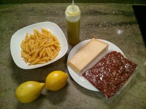 Ingredientes de la pasta al limón