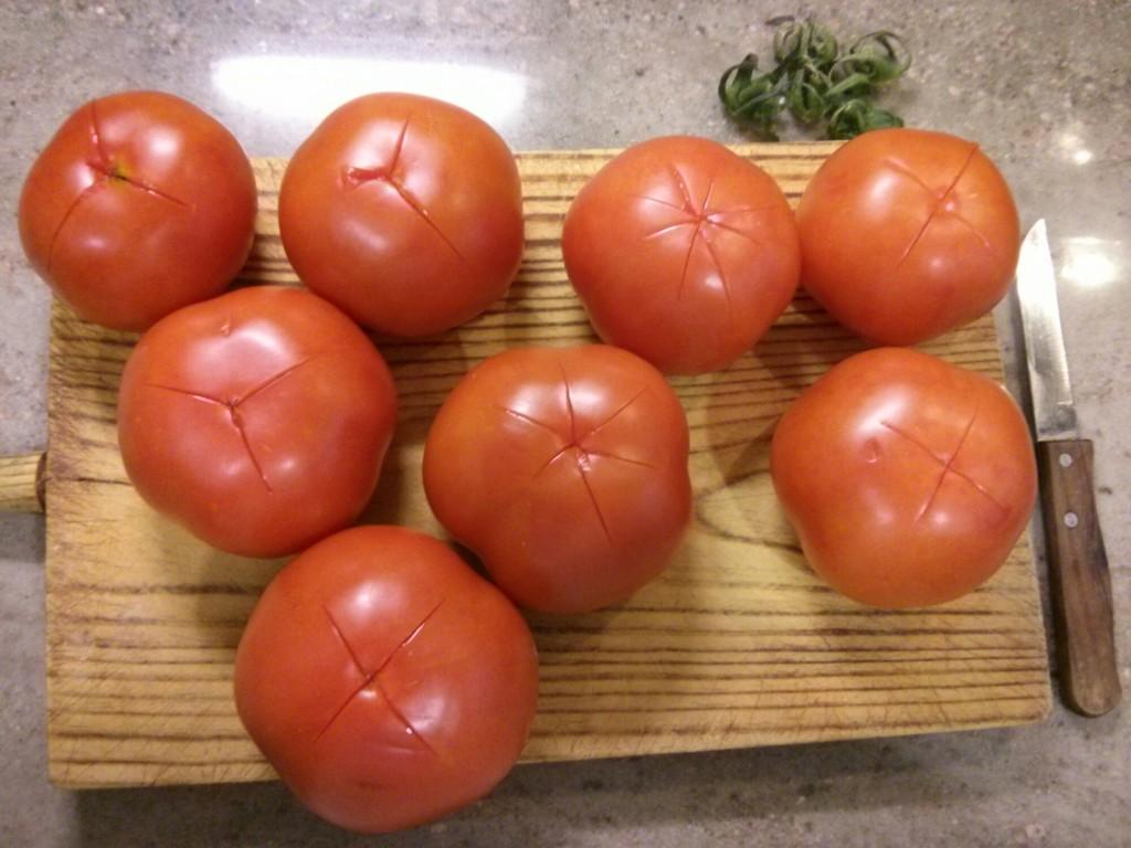 Lavamos los tomates salmorejo cordobés