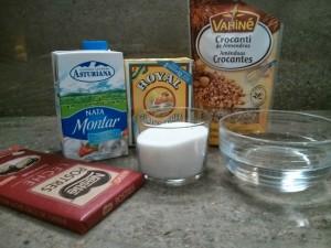 Ingredientes de la Panna cotta de nata y chocolate