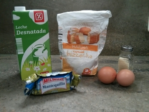 Ingredientes de los crepes franceses